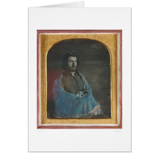 Man with blue cloak and revolver (40455) greeting card