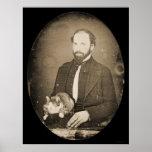 Man with Cat Daguerreotype 1854 Posters