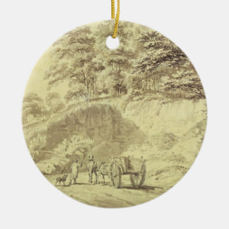 Man with Horse and Cart Entering a Quarry, c.1797 Christmas Ornament