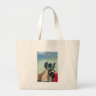 Man with snorkeling equipment tote bag