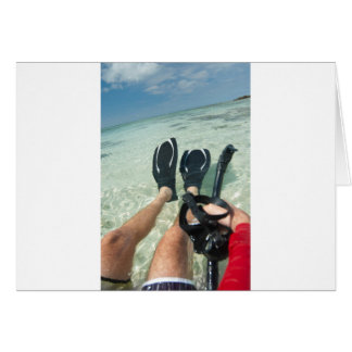 Man with snorkeling equipment greeting card