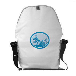 Man With Snow Blower Oval Cartoon Courier Bags