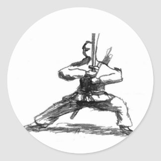 Man With Sword Round Stickers