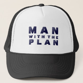 Man With The Plan Blue Text Design Trucker Hat