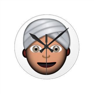 Man With Turban Emoji Round Clock