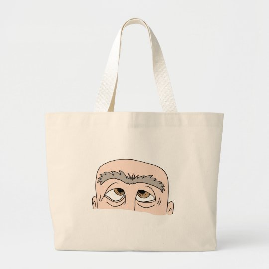 Man with unibrow large tote bag