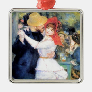Man woman dancing renoir painting Silver-Colored square decoration