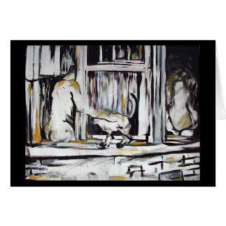 Man & Woman in Window w/ Cat - Original Art Card