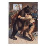 Man Wrestles Bear - Vintage Lithograph