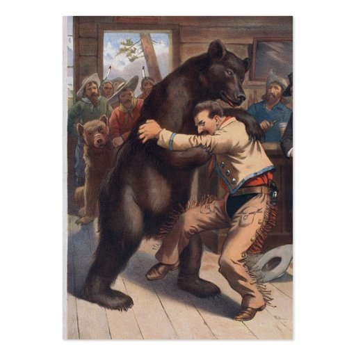 Man Wrestles Bear - Vintage Lithograph Business Card Templates