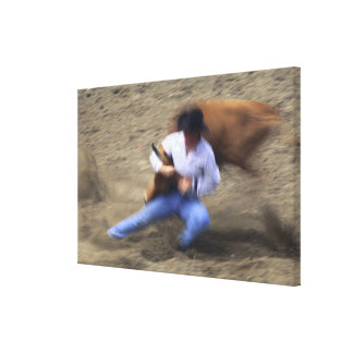 Man wrestling bull canvas print