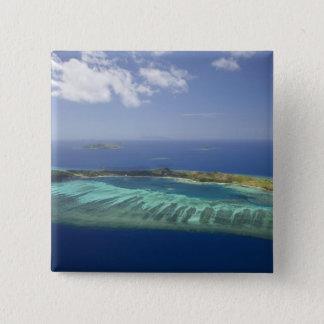 Mana Island and coral reef, Mamanuca Islands 15 Cm Square Badge