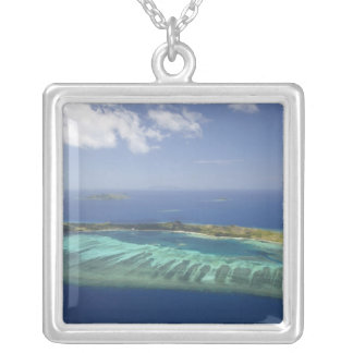 Mana Island and coral reef, Mamanuca Islands Silver Plated Necklace