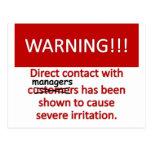 Manager Warning Postcard