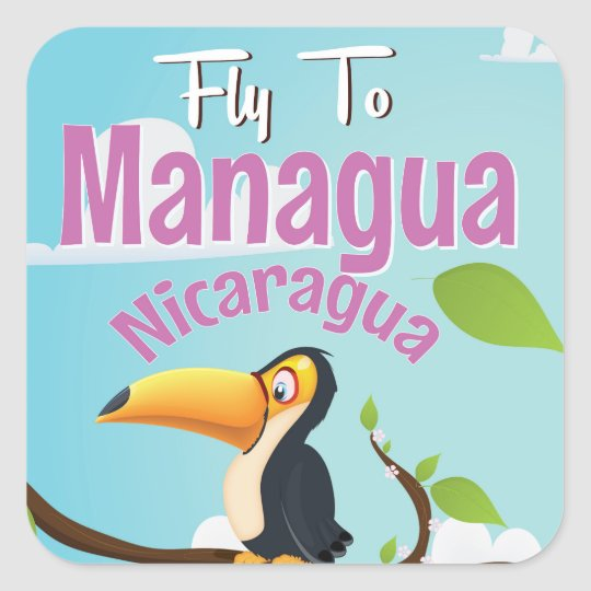 Managua, Nicaragua vintage travel poster Square Sticker