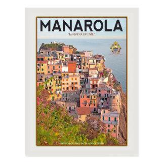 Manarola Vineyard Harbor - on white Postcard