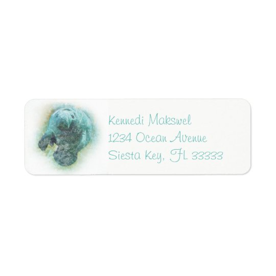 Manatee Art On Return Address Label