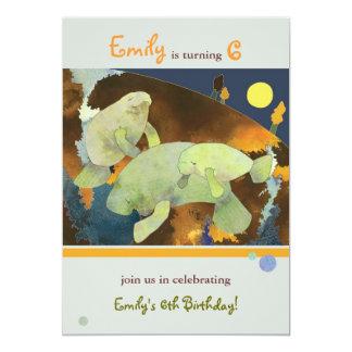 Manatee Family Kids Birthday Party 13 Cm X 18 Cm Invitation Card