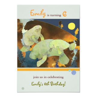 Manatee Family Kids Birthday Party Card