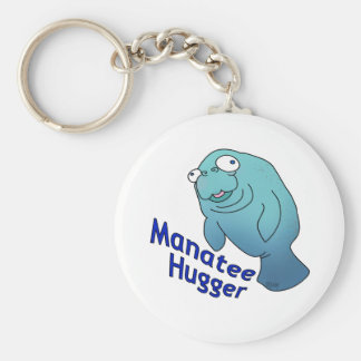 Manatee Hugger Basic Round Button Key Ring