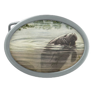 Manatee  Painting Design Belt Buckle