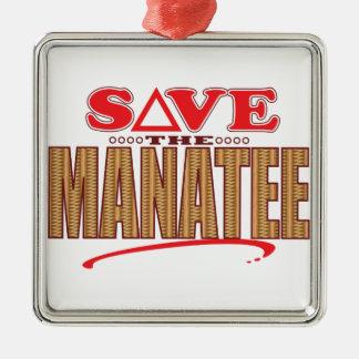 Manatee Save Silver-Colored Square Decoration