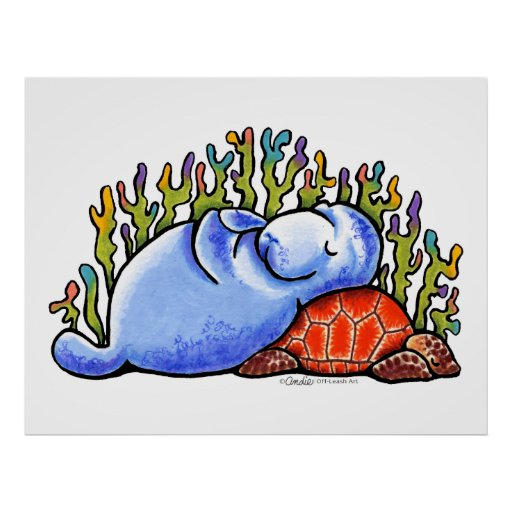 Manatee Sea Turtle Slumber Party by Off-Leash Art Posters