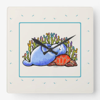 Manatee Sea Turtle Slumber Party Square Wall Clock