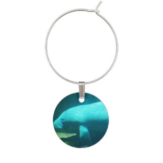 Manatee Swimming Wine Glass Charm