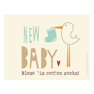 Manc Card - New Baby Boy Bless is cotton socks Post Cards