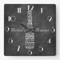 Mancave Blackboard Retro Chalk Personalised Square Wall Clock