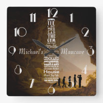 Mancave Personalised Square Wall Clock