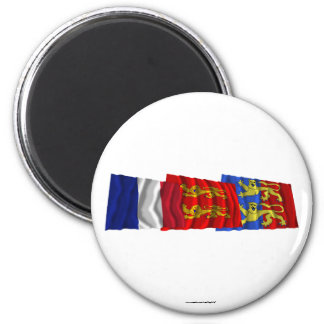 Manche, Basse-Normandie & France flags 6 Cm Round Magnet