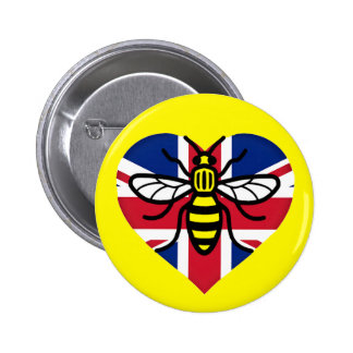 Manchester Bee and Union Jack Heart Solidarity 6 Cm Round Badge