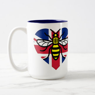 Manchester Bee and Union Jack Heart Solidarity Two-Tone Coffee Mug