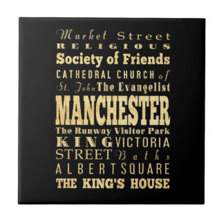 Manchester City of United Kingdom Typography Art Tile