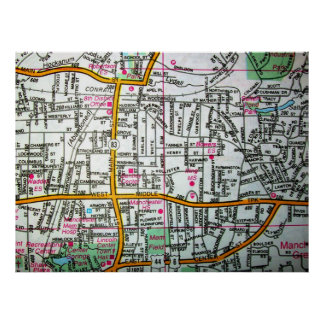 MANCHESTER, CT Vintage Map Poster