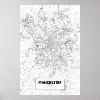 Manchester, England (black on white) Poster