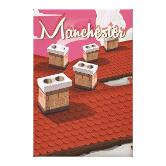 Manchester, England cartoon travel poster Canvas Print