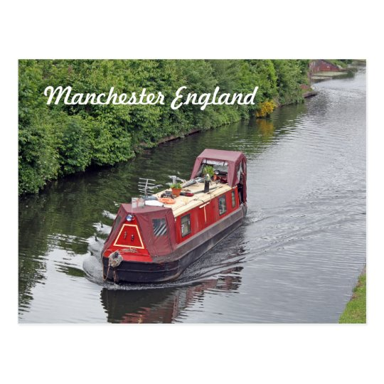 manchester england postcard (cannal boat)