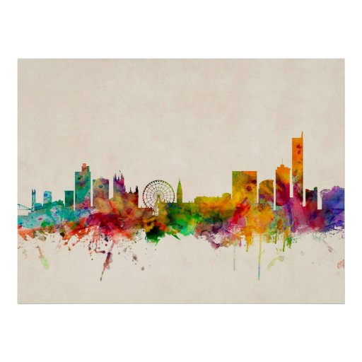 Manchester England Skyline Cityscape Print
