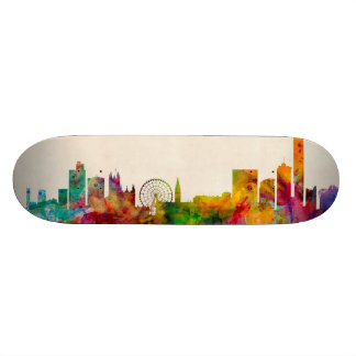 Manchester England Skyline Cityscape Skate Board