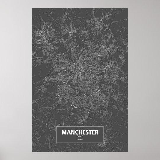 Manchester, England (white on black) Poster