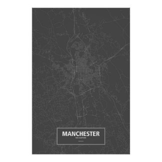 Manchester, New Hampshire (white on black) Poster