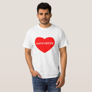 Manchester on red heart printed on Value T-Shirt