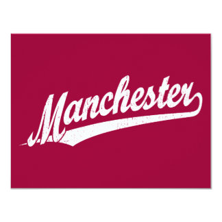 Manchester script logo in white distressed personalized announcements