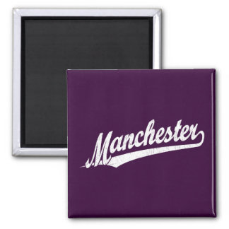 Manchester script logo in white distressed magnet