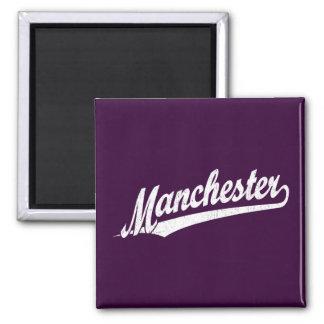 Manchester script logo in white distressed square magnet