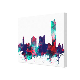 Manchester Skyline City watercolor print on canvas