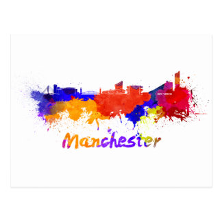 Manchester skyline in watercolor postcard